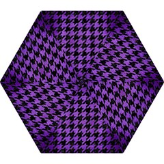 Houndstooth1 Black Marble & Purple Brushed Metal Mini Folding Umbrellas by trendistuff