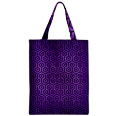 Hexagon1 Black Marble & Purple Brushed Metal Zipper Classic Tote Bag by trendistuff
