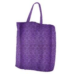 Hexagon1 Black Marble & Purple Brushed Metal Giant Grocery Zipper Tote by trendistuff