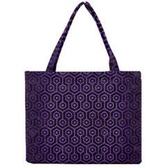 Hexagon1 Black Marble & Purple Brushed Metal (r) Mini Tote Bag by trendistuff