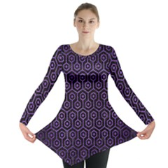 Hexagon1 Black Marble & Purple Brushed Metal (r) Long Sleeve Tunic  by trendistuff