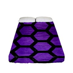 Hexagon2 Black Marble & Purple Brushed Metal Fitted Sheet (full/ Double Size) by trendistuff