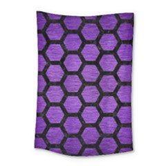 Hexagon2 Black Marble & Purple Brushed Metal Small Tapestry