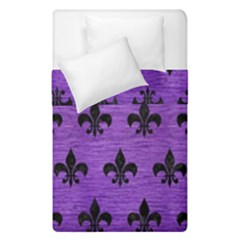 Royal1 Black Marble & Purple Brushed Metal (r) Duvet Cover Double Side (single Size) by trendistuff
