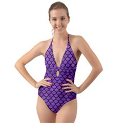 Scales1 Black Marble & Purple Brushed Metal Halter Cut Out One Piece Swimsuit by trendistuff
