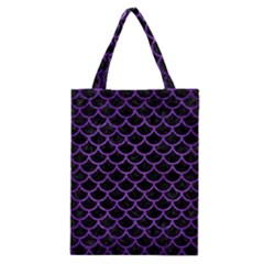 Scales1 Black Marble & Purple Brushed Metal (r) Classic Tote Bag by trendistuff