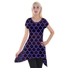 Scales1 Black Marble & Purple Brushed Metal (r) Short Sleeve Side Drop Tunic by trendistuff