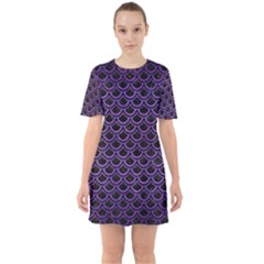 Scales2 Black Marble & Purple Brushed Metal (r) Sixties Short Sleeve Mini Dress