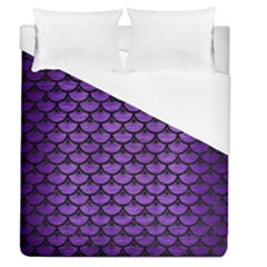 Scales3 Black Marble & Purple Brushed Metal Duvet Cover (queen Size) by trendistuff