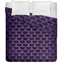 Scales3 Black Marble & Purple Brushed Metal (r) Duvet Cover Double Side (california King Size) by trendistuff