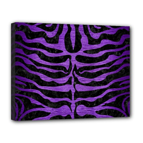 Skin2 Black Marble & Purple Brushed Metal (r) Canvas 14  X 11  by trendistuff