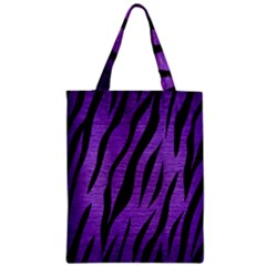 Skin3 Black Marble & Purple Brushed Metal Zipper Classic Tote Bag by trendistuff