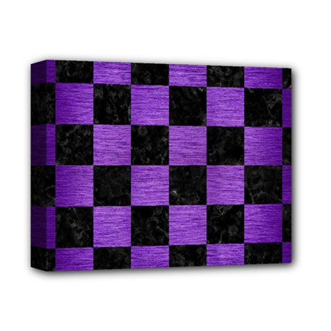 Square1 Black Marble & Purple Brushed Metal Deluxe Canvas 14  X 11  by trendistuff