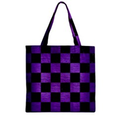 Square1 Black Marble & Purple Brushed Metal Zipper Grocery Tote Bag by trendistuff