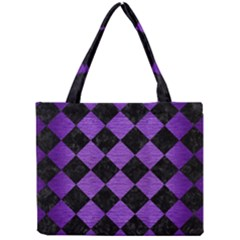 Square2 Black Marble & Purple Brushed Metal Mini Tote Bag by trendistuff
