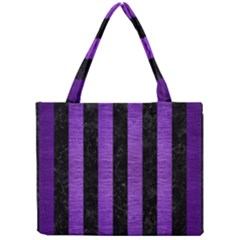 Stripes1 Black Marble & Purple Brushed Metal Mini Tote Bag by trendistuff