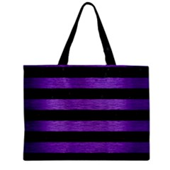 Stripes2 Black Marble & Purple Brushed Metal Zipper Mini Tote Bag by trendistuff