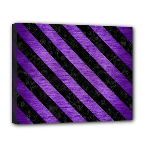 Stripes3 Black Marble & Purple Brushed Metal Deluxe Canvas 20  X 16   by trendistuff