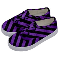 Stripes3 Black Marble & Purple Brushed Metal Kids  Classic Low Top Sneakers by trendistuff