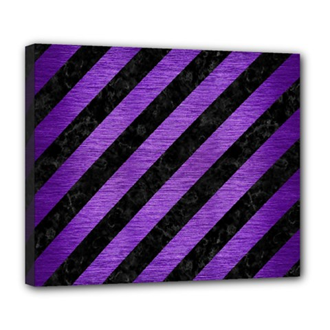 Stripes3 Black Marble & Purple Brushed Metal (r) Deluxe Canvas 24  X 20   by trendistuff