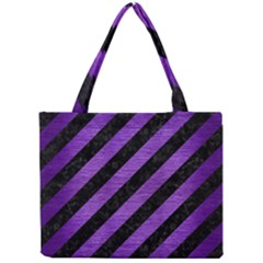 Stripes3 Black Marble & Purple Brushed Metal (r) Mini Tote Bag by trendistuff