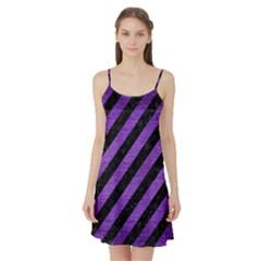 Stripes3 Black Marble & Purple Brushed Metal (r) Satin Night Slip by trendistuff