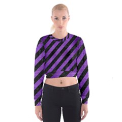 Stripes3 Black Marble & Purple Brushed Metal (r) Cropped Sweatshirt