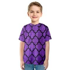 Tile1 Black Marble & Purple Brushed Metal Kids  Sport Mesh Tee