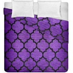 Tile1 Black Marble & Purple Brushed Metal Duvet Cover Double Side (king Size) by trendistuff
