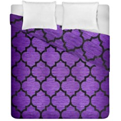 Tile1 Black Marble & Purple Brushed Metal Duvet Cover Double Side (california King Size) by trendistuff