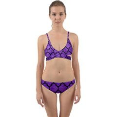 Tile1 Black Marble & Purple Brushed Metal Wrap Around Bikini Set