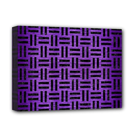 Woven1 Black Marble & Purple Brushed Metal Deluxe Canvas 16  X 12   by trendistuff