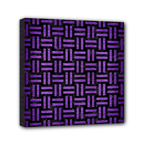 Woven1 Black Marble & Purple Brushed Metal (r) Mini Canvas 6  X 6  by trendistuff