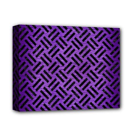 Woven2 Black Marble & Purple Brushed Metalwoven2 Black Marble & Purple Brushed Metal Deluxe Canvas 14  X 11  by trendistuff