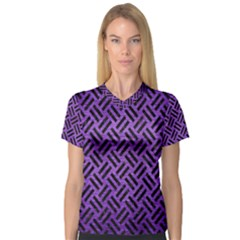 Woven2 Black Marble & Purple Brushed Metalwoven2 Black Marble & Purple Brushed Metal V Neck Sport Mesh Tee