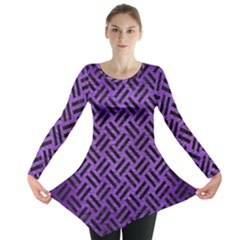Woven2 Black Marble & Purple Brushed Metalwoven2 Black Marble & Purple Brushed Metal Long Sleeve Tunic  by trendistuff