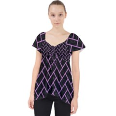Brick2 Black Marble & Purple Colored Pencil (r) Lace Front Dolly Top