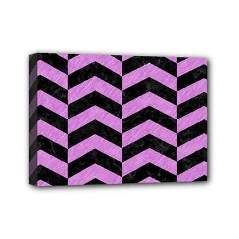 Chevron2 Black Marble & Purple Colored Pencil Mini Canvas 7  X 5  by trendistuff