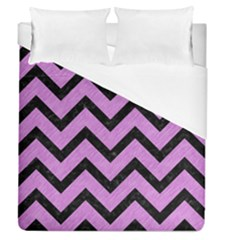 Chevron9 Black Marble & Purple Colored Pencil Duvet Cover (queen Size)