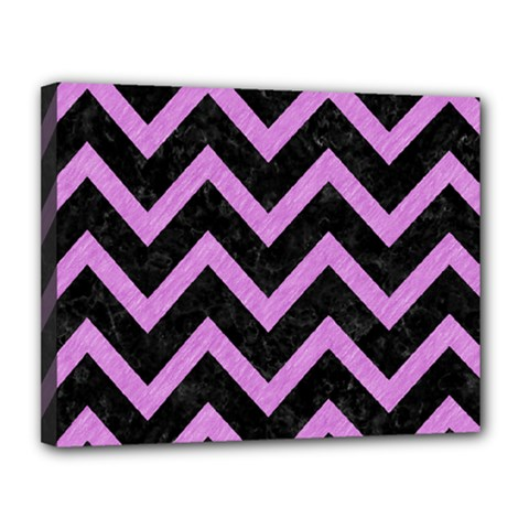 Chevron9 Black Marble & Purple Colored Pencil (r) Canvas 14  X 11  by trendistuff