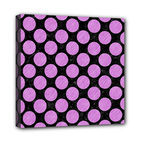 Circles2 Black Marble & Purple Colored Pencil (r) Mini Canvas 8  X 8  by trendistuff