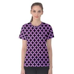 Circles3 Black Marble & Purple Colored Pencil (r) Women s Cotton Tee by trendistuff