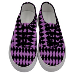 Diamond1 Black Marble & Purple Colored Pencil Men s Classic Low Top Sneakers