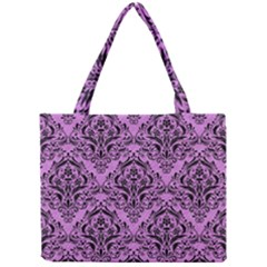 Damask1 Black Marble & Purple Colored Pencil Mini Tote Bag by trendistuff