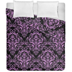 Damask1 Black Marble & Purple Colored Pencil (r) Duvet Cover Double Side (california King Size) by trendistuff