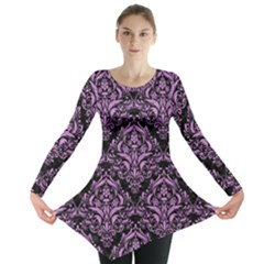 Damask1 Black Marble & Purple Colored Pencil (r) Long Sleeve Tunic  by trendistuff