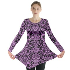 Damask2 Black Marble & Purple Colored Pencil (r) Long Sleeve Tunic  by trendistuff