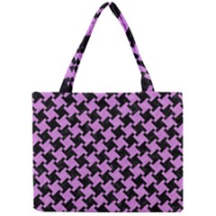 Houndstooth2 Black Marble & Purple Colored Pencil Mini Tote Bag by trendistuff