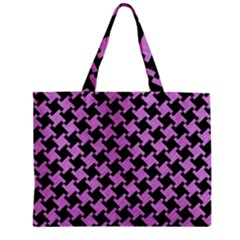 Houndstooth2 Black Marble & Purple Colored Pencil Zipper Mini Tote Bag by trendistuff