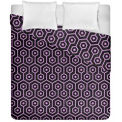 Hexagon1 Black Marble & Purple Colored Pencil (r) Duvet Cover Double Side (california King Size) by trendistuff